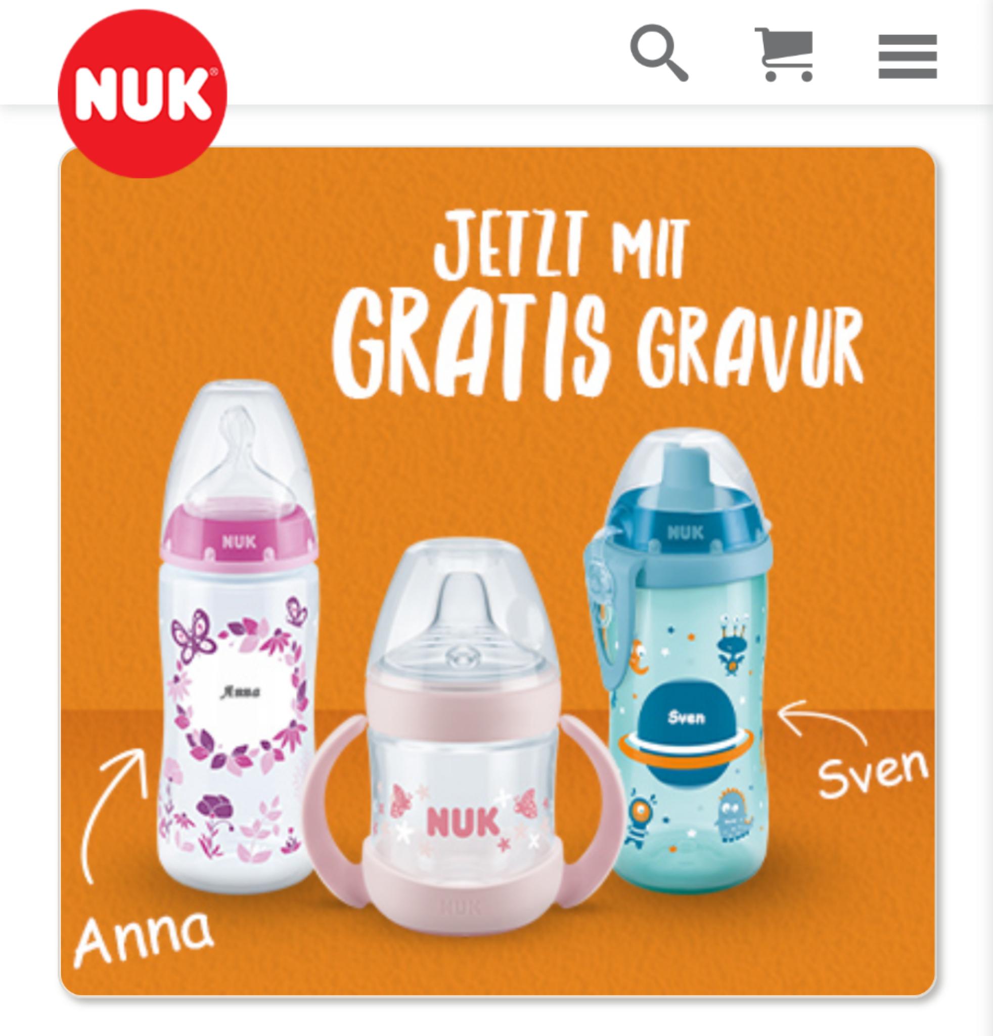 NUK Babyflaschen, Cups und Trinklernflaschen mit persönlicher Gravur