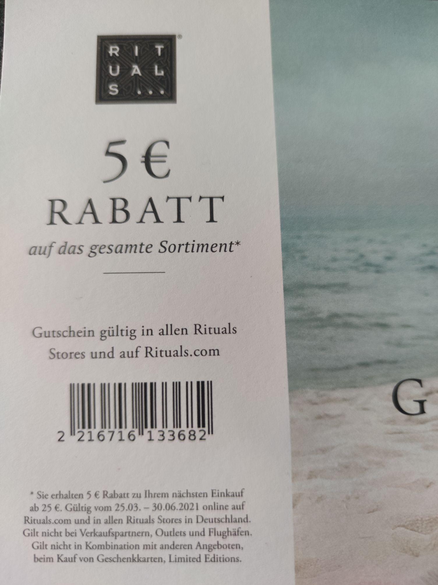 5 € Rabatt ab 25 € MBW bei Rituals