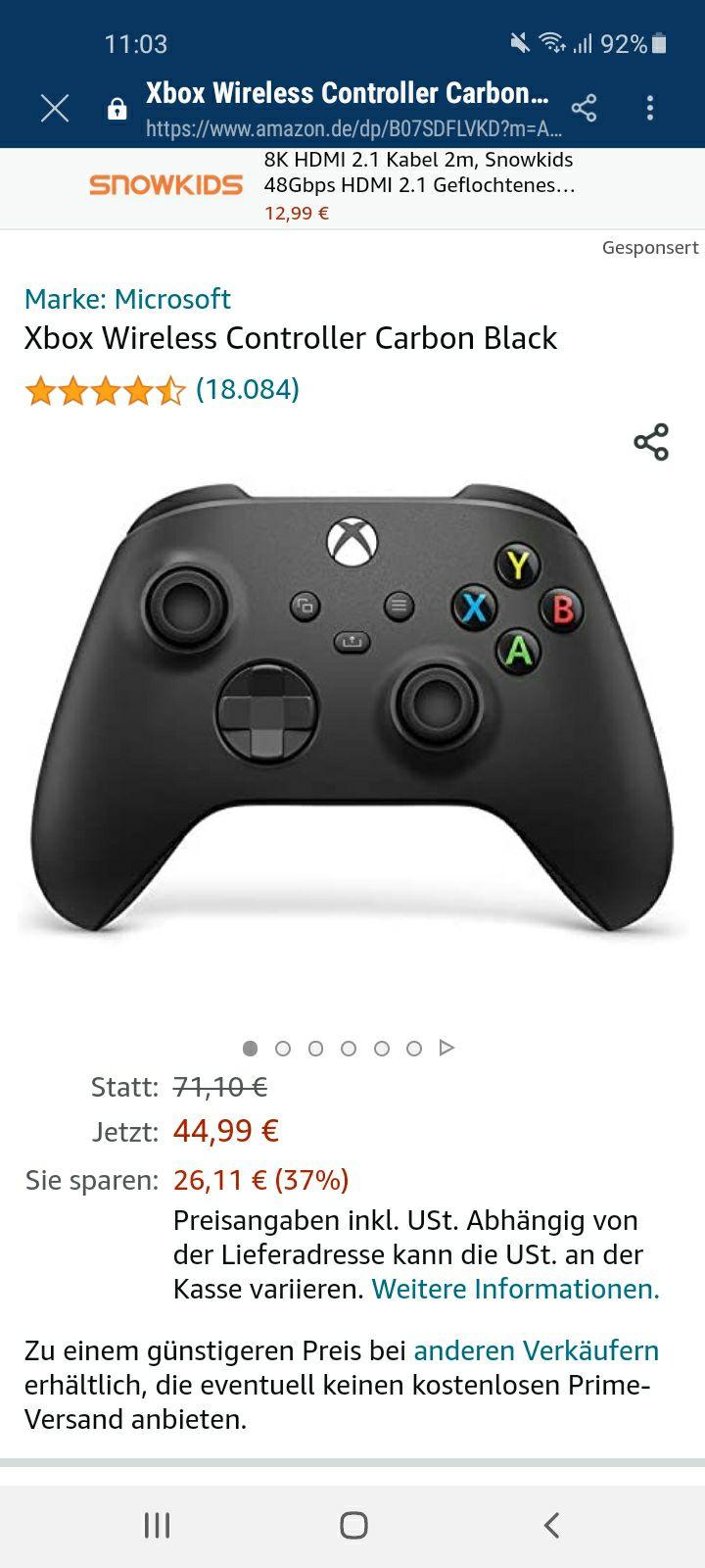 Xbox Controller in Schwarz für 44,99€ bei Amazon