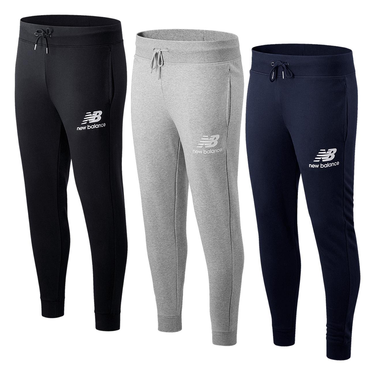 New Balance Jogginghose Essentials Stacked Logo (3 Farben, S bis XXL, 65% Baumwolle & 35% Polyester)