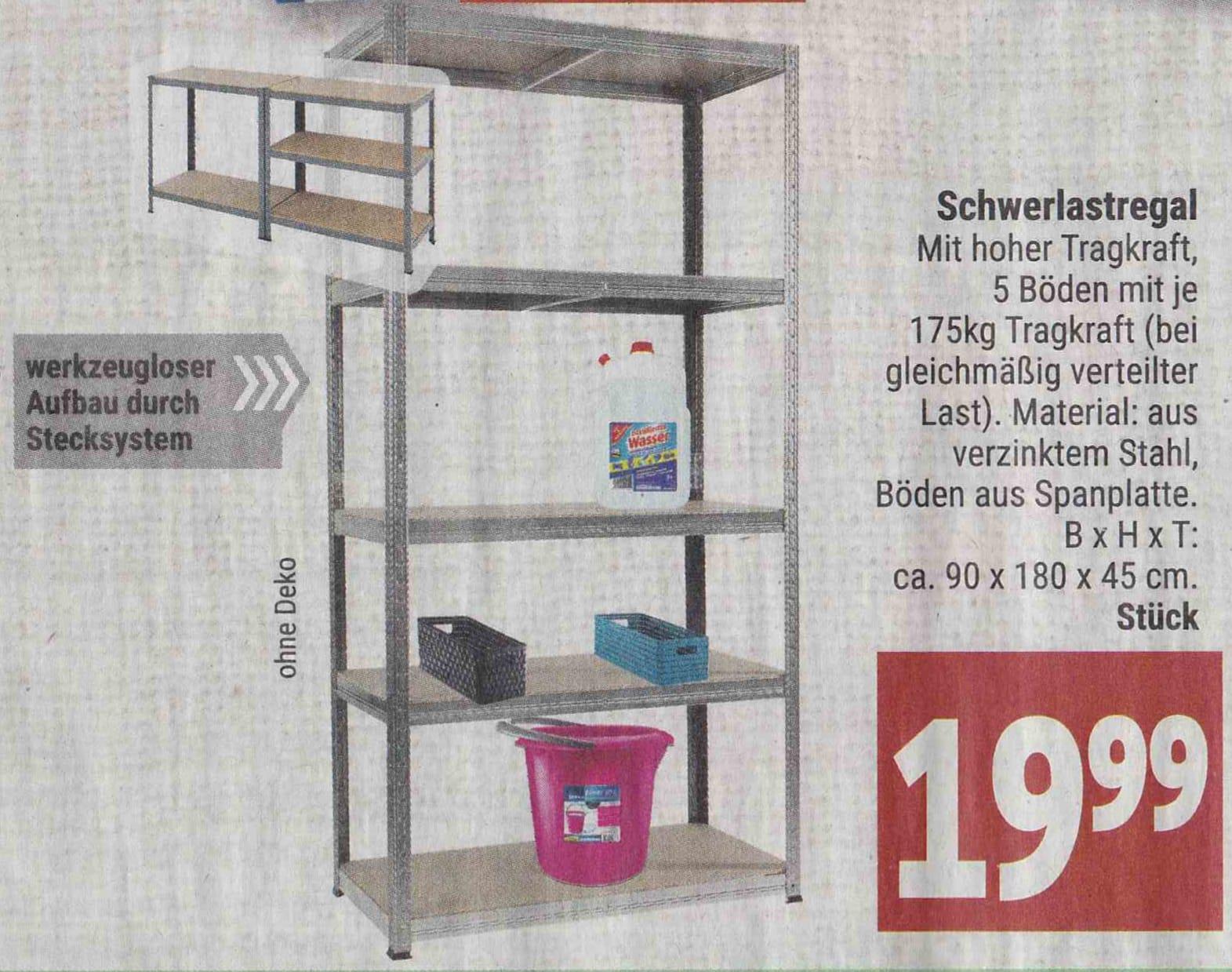 [Lokal Marktkauf Minden-Hannover] Schwerlastregal, 90x180x45cm, 5 Böden ja 175kg Tragkraft