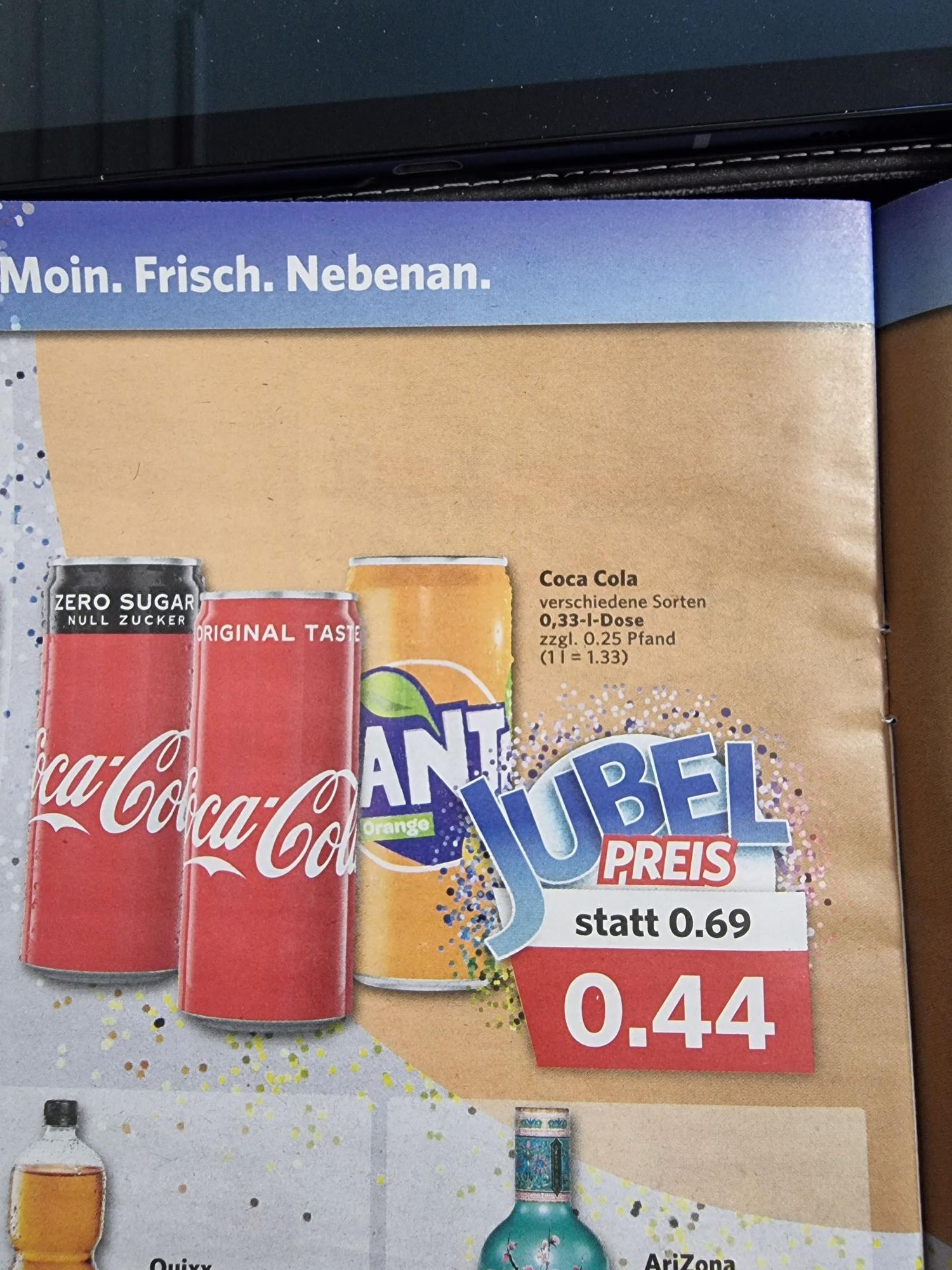 Coca Cola Fanta Cola Zero und verschiedene Sorten 0.33l zzgl. 0.25€ Pfand Combi Bielefeld