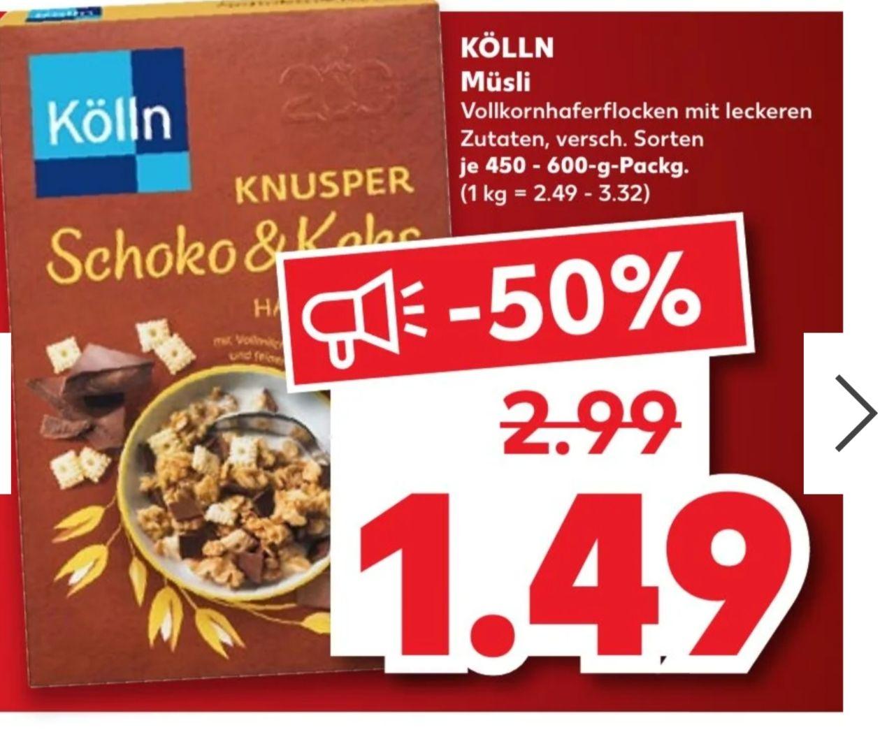 [Kaufland (lokal, ehemalige Real-Filialen?)] Kölln Müsli, verschiedene Sorten für 1,49€ vom 08.-14.04