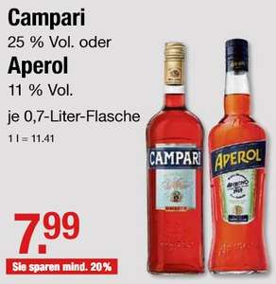 [V-Markt] Campari Bitter 25 % - 0,7 l