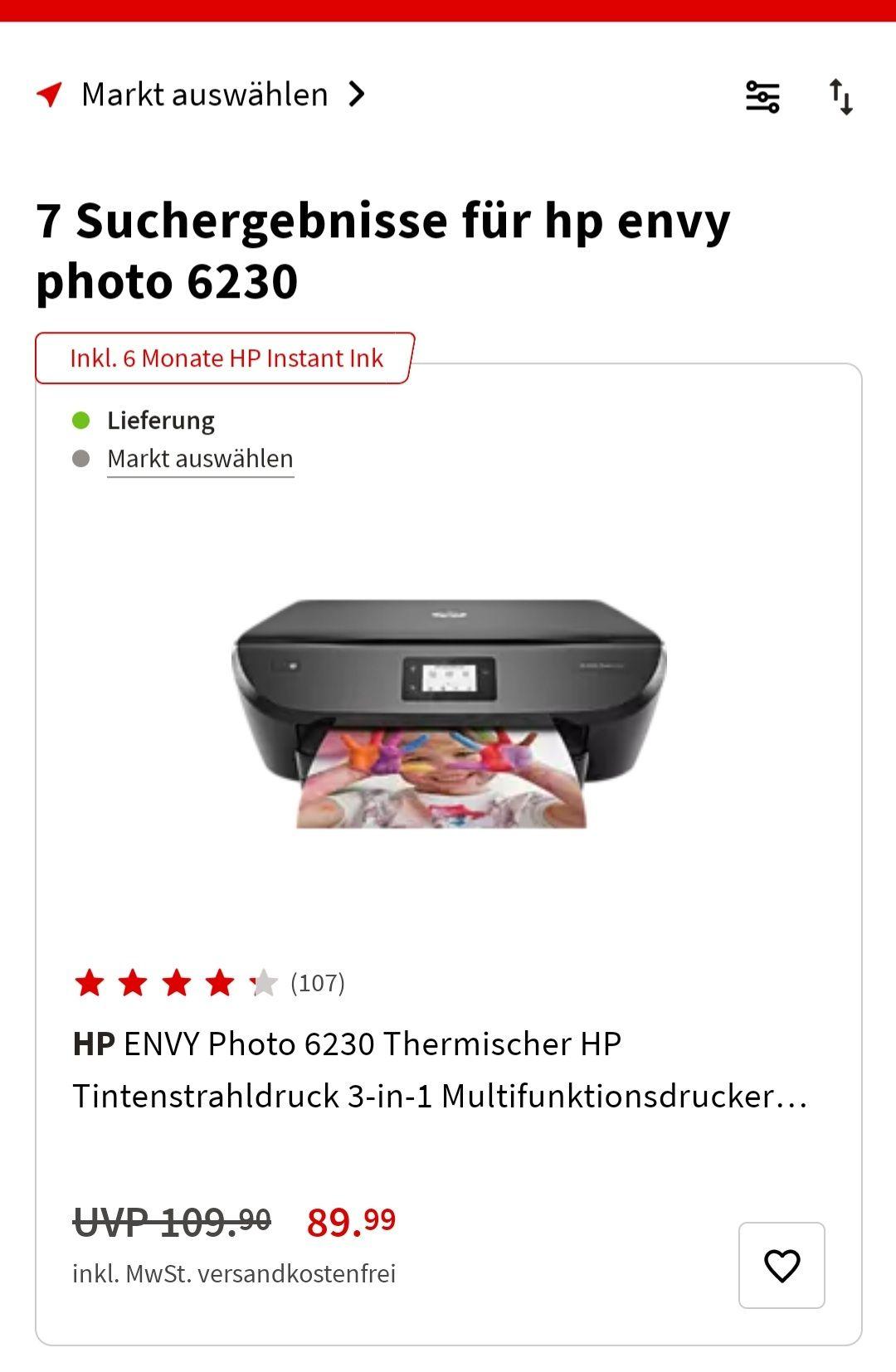 HP Envy Photo 6230 3 in 1 Drucker Media Markt 6 Monate Instant Ink Tinten Abo
