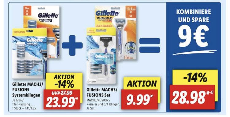 Bestpreis: Gillette Fusion Rasierklingen für 1,70 pro Stück bei Lidl