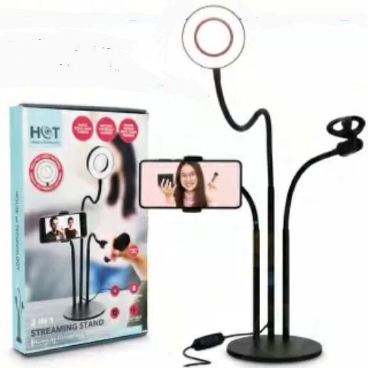 3-in-1 Stativ mit LED-Ringlicht, Handy Halterung, Smartphone Streaming Stand,