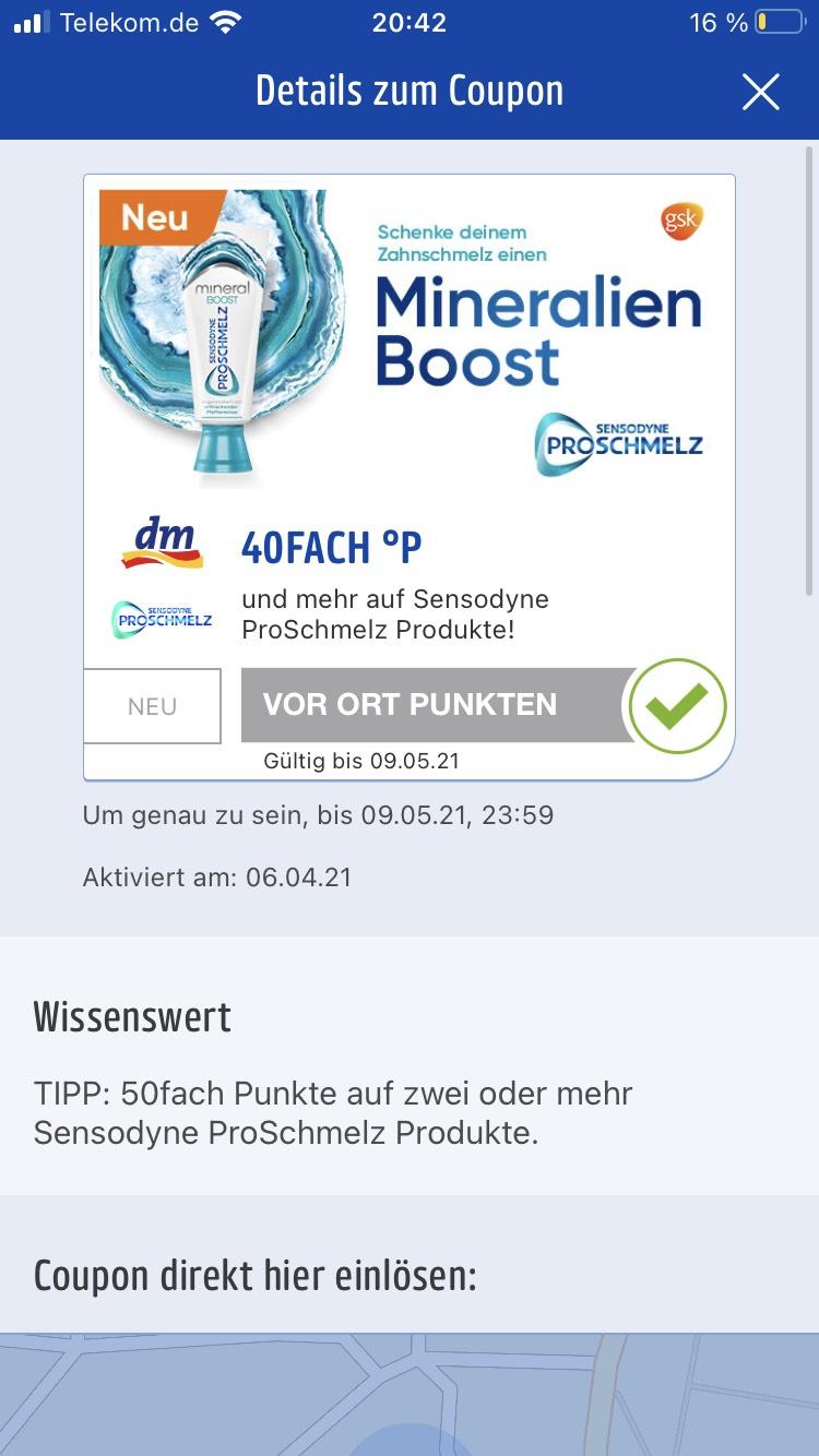 DM offline - Payback - Sensodyne ProSchmelz - Zahnpasta im Wert von 10,35€ für effektiv 1,85€