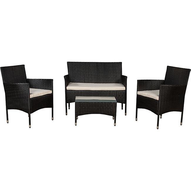 Polyrattan Gartenmöbel-Set Fort Myers mit Tisch, Sofa, 2 Stühle & Auflagen (Grau o. Schwarz)