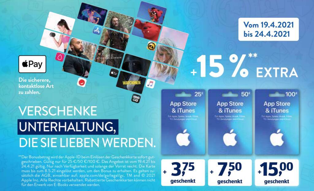 [Aldi-Süd/-Nord/Rewe] 15% zusätzliches Guthaben für iTunes und App Store Geschenkkarten ab 19.04.2021
