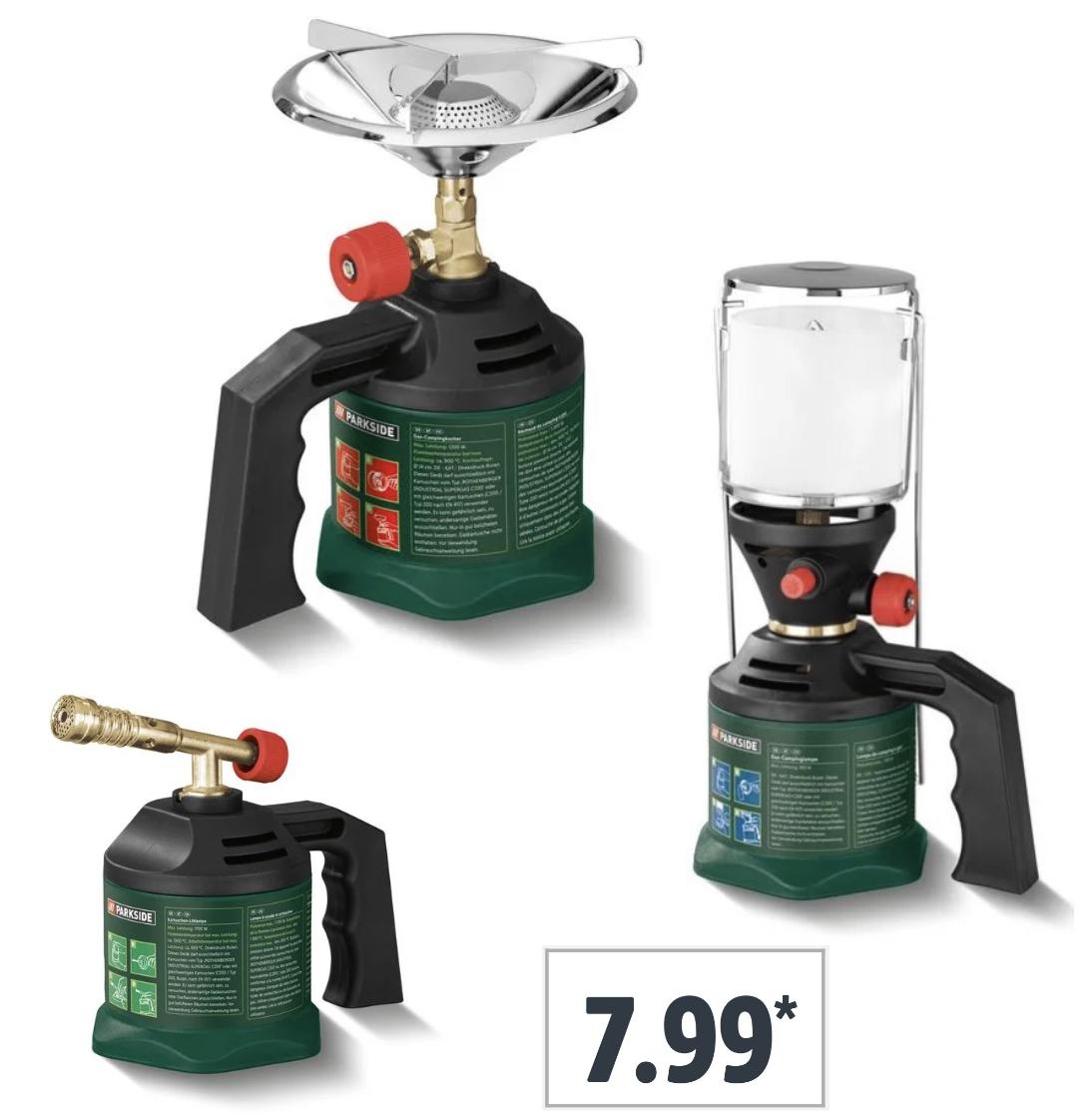 Parkside Campingkocher Gaskocher, Campinglampe oder Kartuschen-Lötlampe für je 7,99€