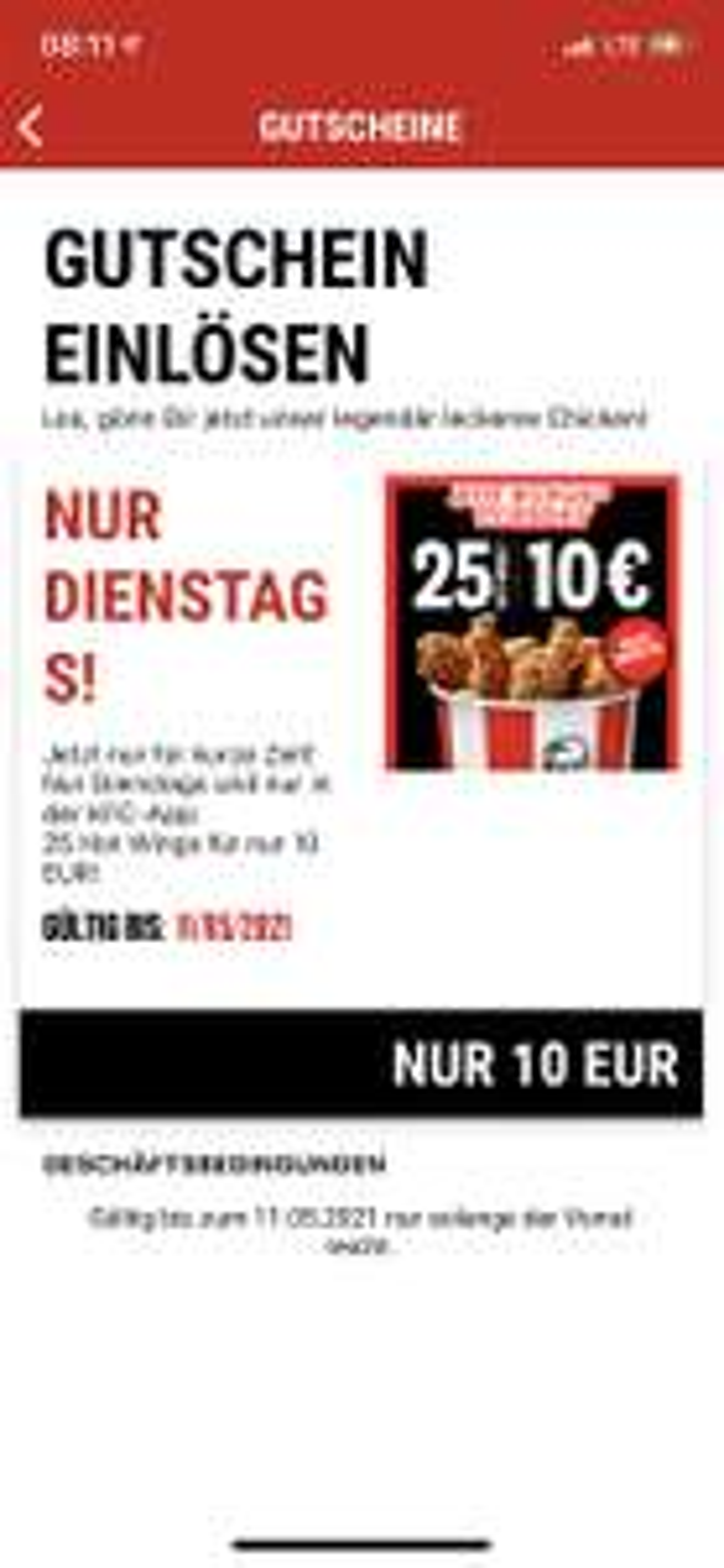KFC 25 Hot Wings für 10 €