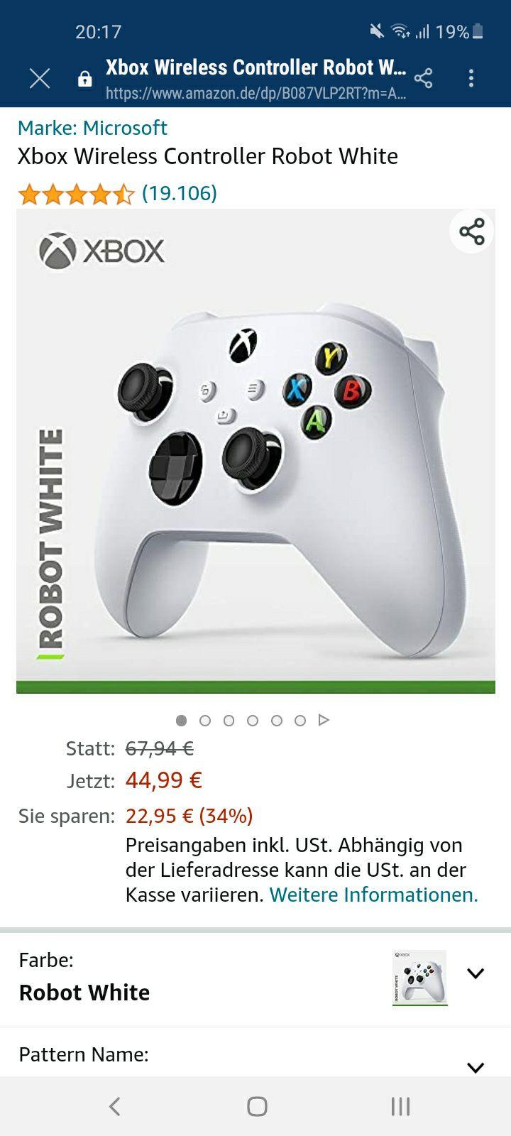 Xbox Wireless Controller in Robot White bei Amazon