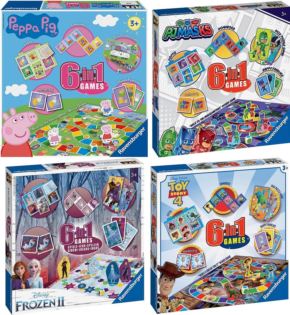 [Prime] Ravensburger 6-in-1 Spielesammlung (engl. Version) u.a. Domino, Puzzle, Schlangen und Leitern, Spielkarten und Memory z.B. Peppa Pig