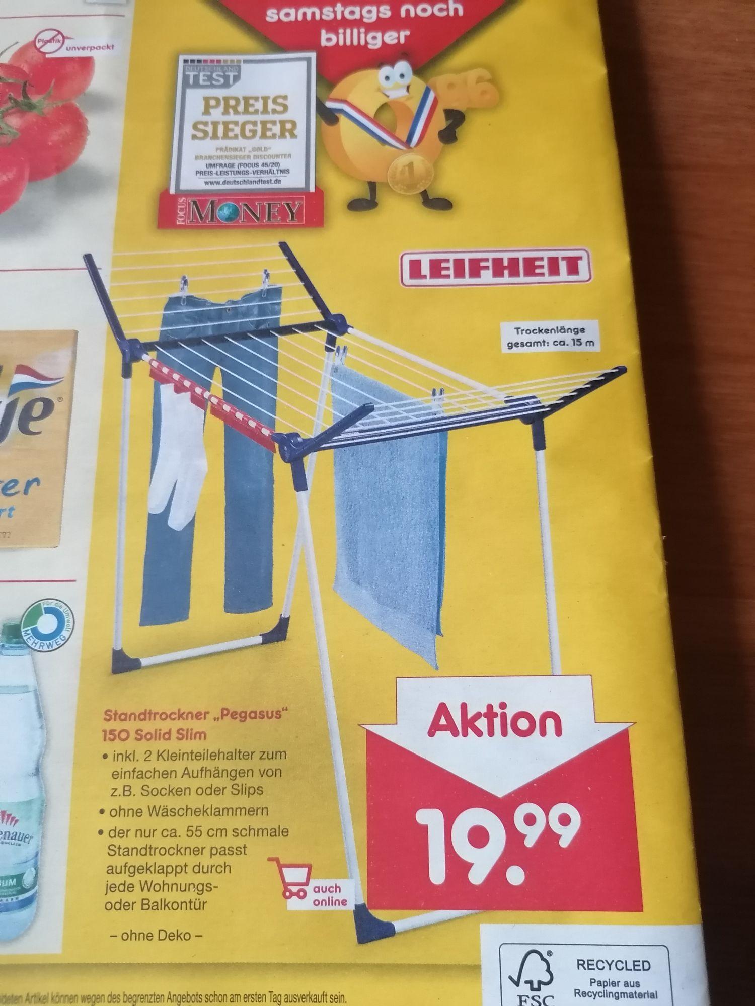 """[Netto MD 17.4.21] Leifheit Wäscheständer """"Pegasus 150 Solid"""" für 19,99€ ( eventuell mit 20% Gutschein für 15,99€)"""