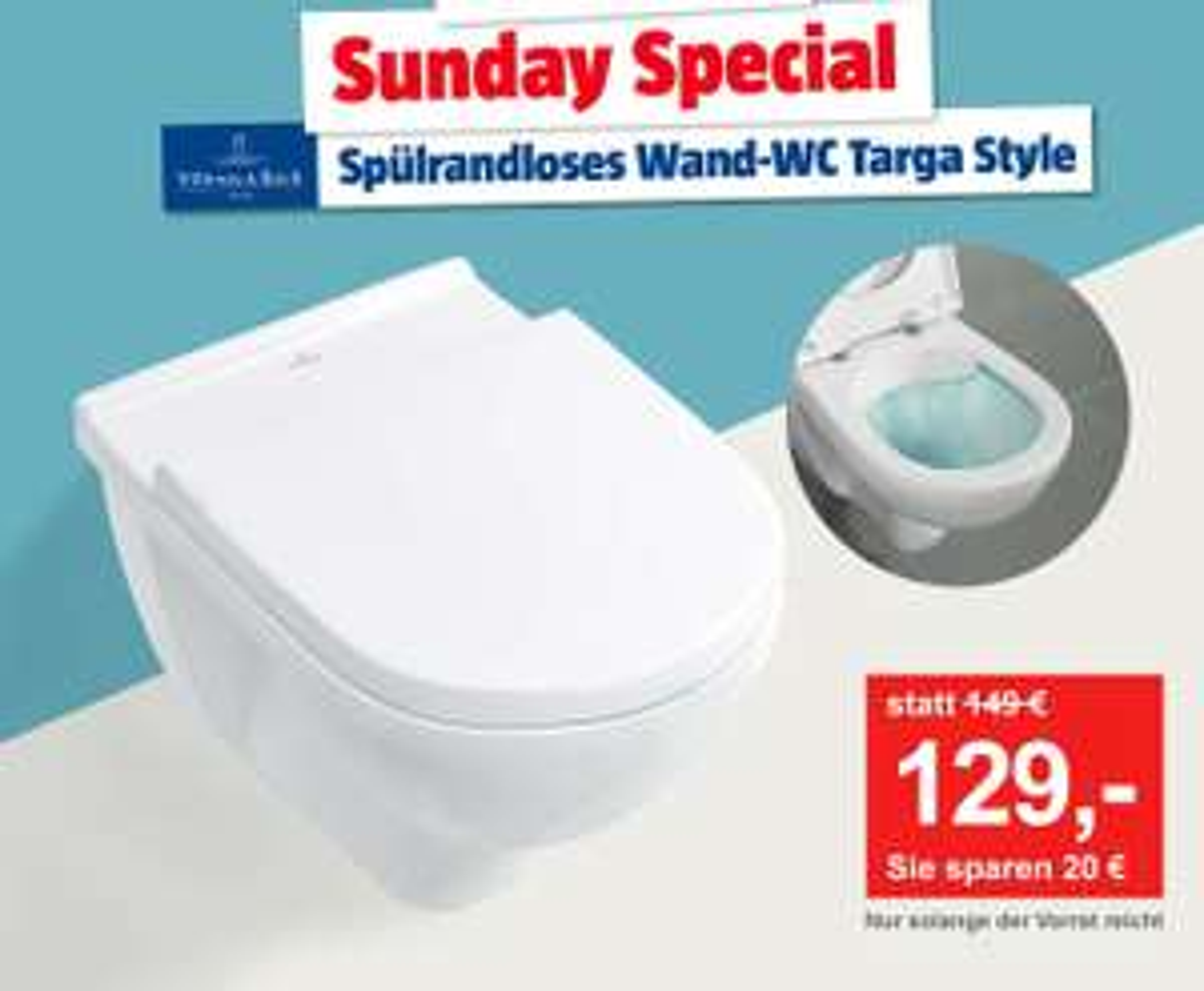 BAUHAUS - Villeroy & Boch Spülrandloses Wand-WC Targa Style