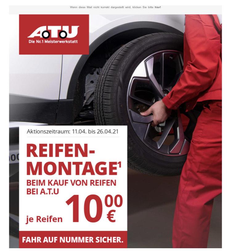 Reifenmontage für 10€ pro Reifen