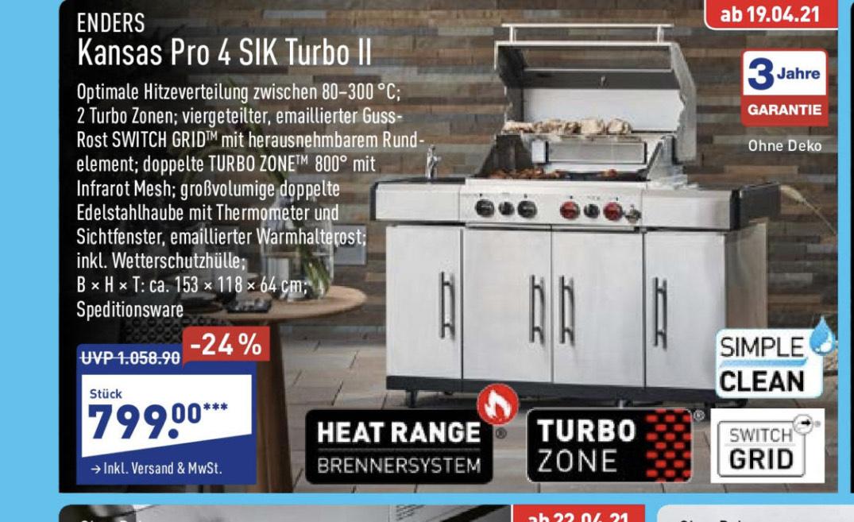 Enders Kansas Pro 4 SIK Profi Turbo Gasgrill