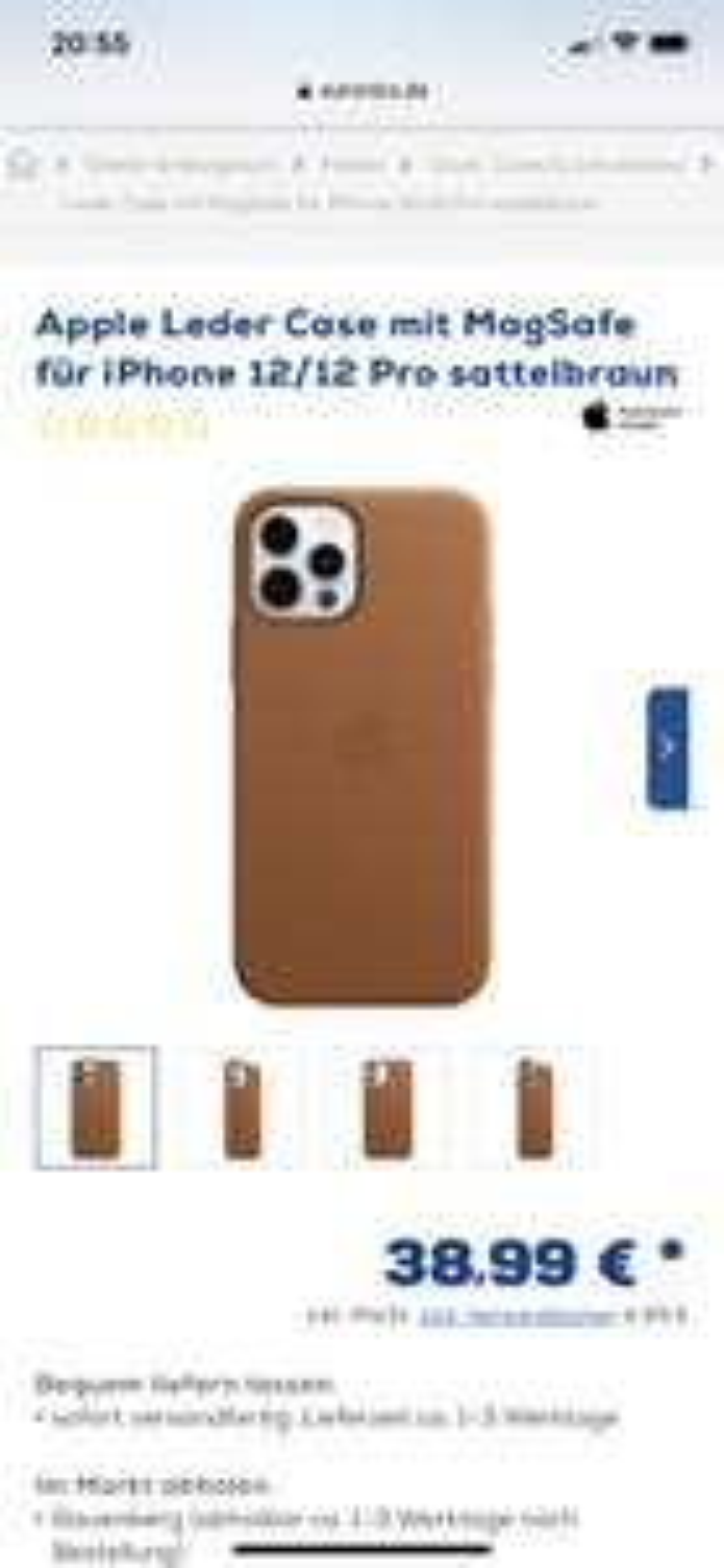 Apple Leder Case mit MagSafe für iPhone 12/12 Pro/Pro Max sattelbraun - Euronics Rauenberg