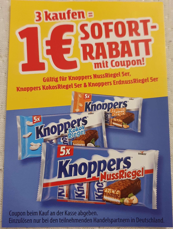 Knoppers Nuss/Kokos/Erdnuss -Riegel 5er Pack (3 Kaufen -> 1€ Sparen)