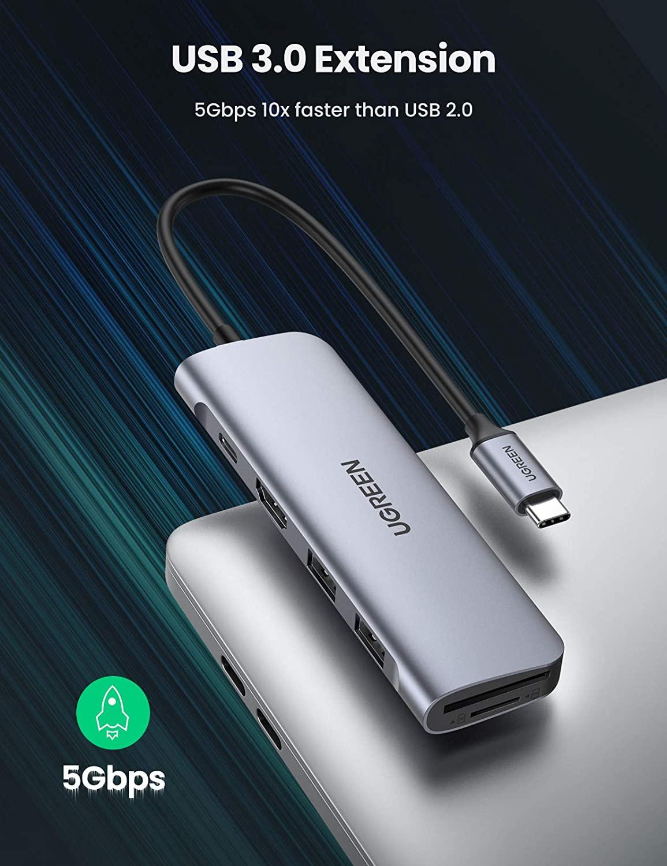 Amazon Prime] UGREEN USB C Hub, HDMI USB C Adapter mit 4K HDMI, 100W PD, USB 3.0 kompatibel mit MacBook iPad