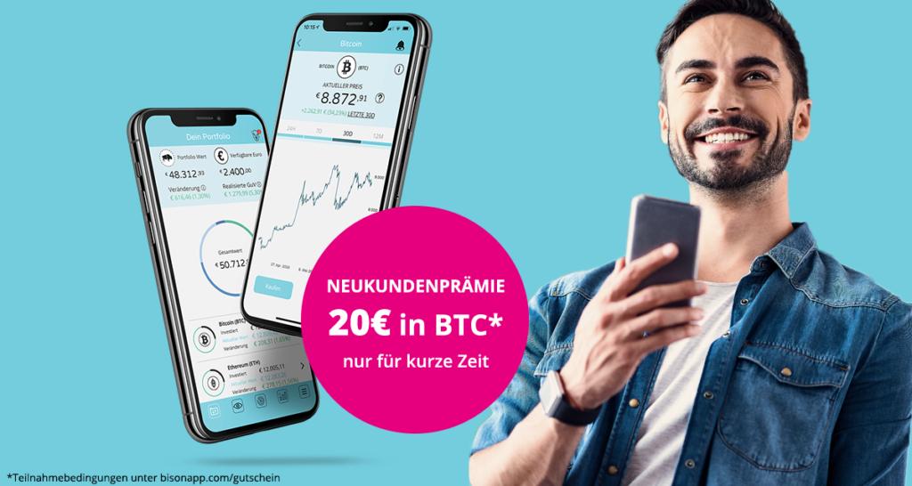 (Bison APP Neukunden) 20 Euro in Bitcoin für den ersten Kauf (ab 14.04)