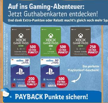 [Rewe vom 19.04. - 24.04.] Bis zu 500 extra Payback Punkte auf Playstation Store und Xbox Game Pass Guthabenkarten