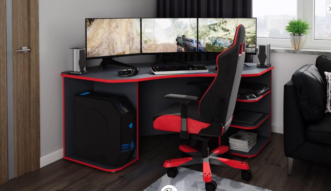 """Gaming Schreibisch »Tron«, passend für drei 28"""" Monitore, Praktische Rückwand mit Durchlässen für Kabel und Stromzufuhr, Ablagen für PS/Xbox"""