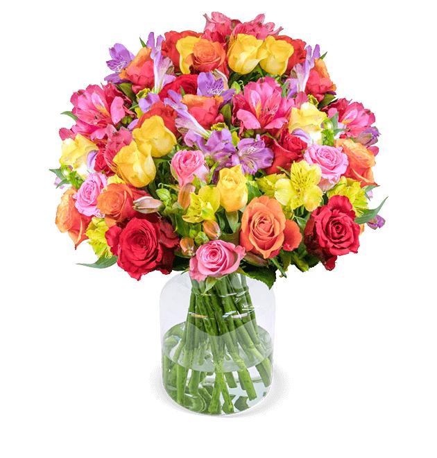 31 Stiele Rosenglück XXL mit über 120 Blüten (Rosen und Inkalilien, 50cm Länge, 7-Tage-Frischegarantie)