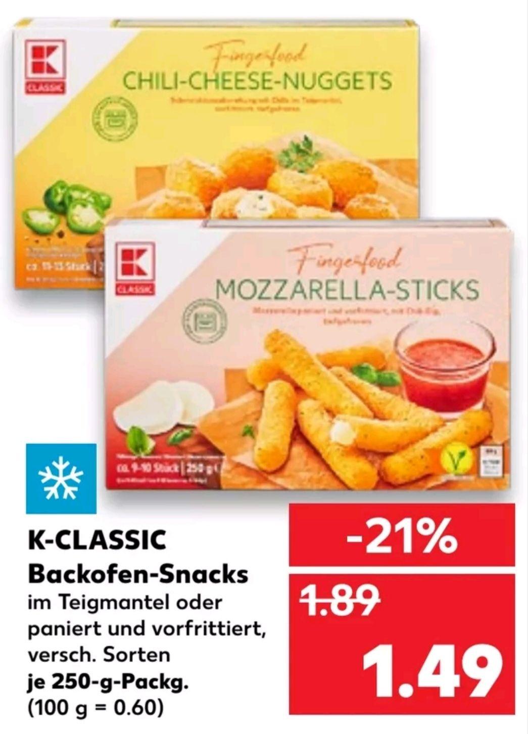 [Kaufland ab 26.04] K-Classic Backofen Snacks z.b. Chili Cheese Nuggets, Mozzarella Sticks für 1,49€