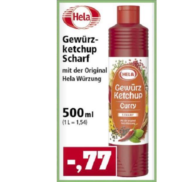 """HELA 500ml Gewürz-Ketchup Curry """"Scharf"""" (1,54€/Liter)"""