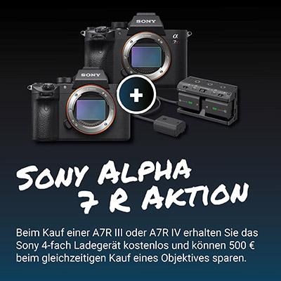 Bei Kauf von Sony Alpha 7 R III / 7 R IV: Gratis Sony Ladegerät NPAMQZ1K & 500€ Sofortrabatt bei passendem E-Mount Objektiv