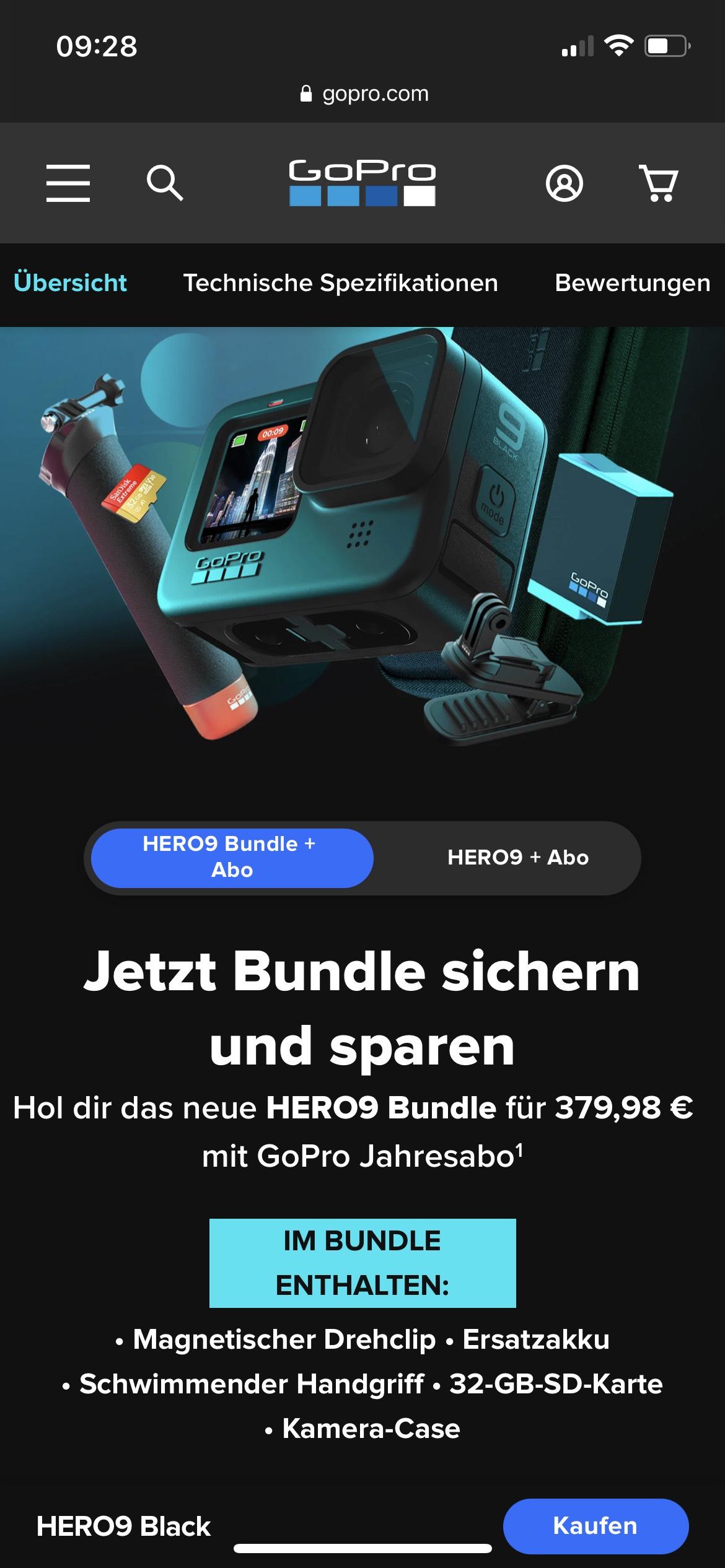 GoPro Hero 9 Bundle mit GoPro Jahresabo