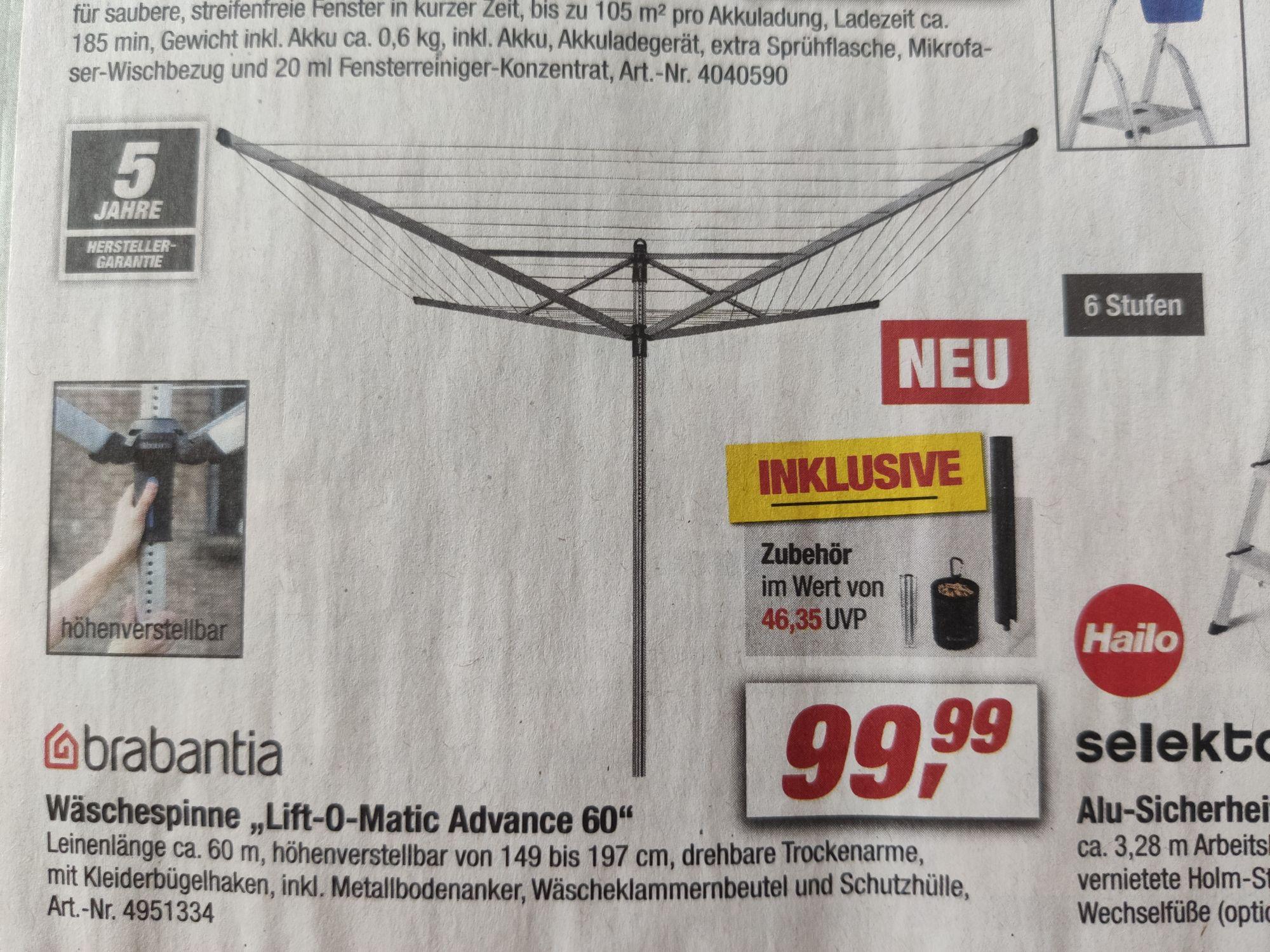 Wäschespinne Brabantia Lift-O-Matic Advance 60
