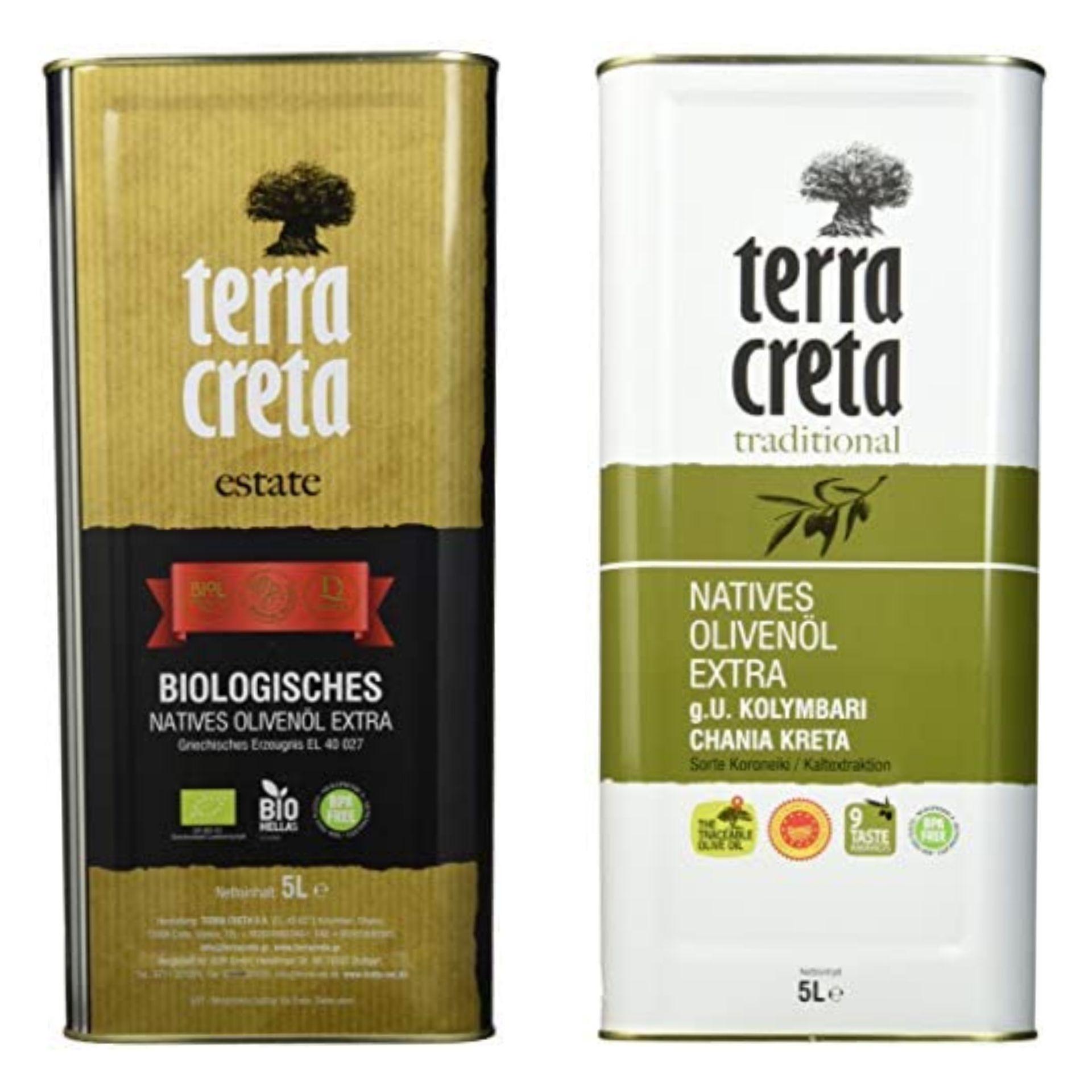 Terra Creta Extra oder Estate(Bio) Natives Olivenöl 5 l, durch 5er Sparabo für 26,94€ - Prime *Sparabo*