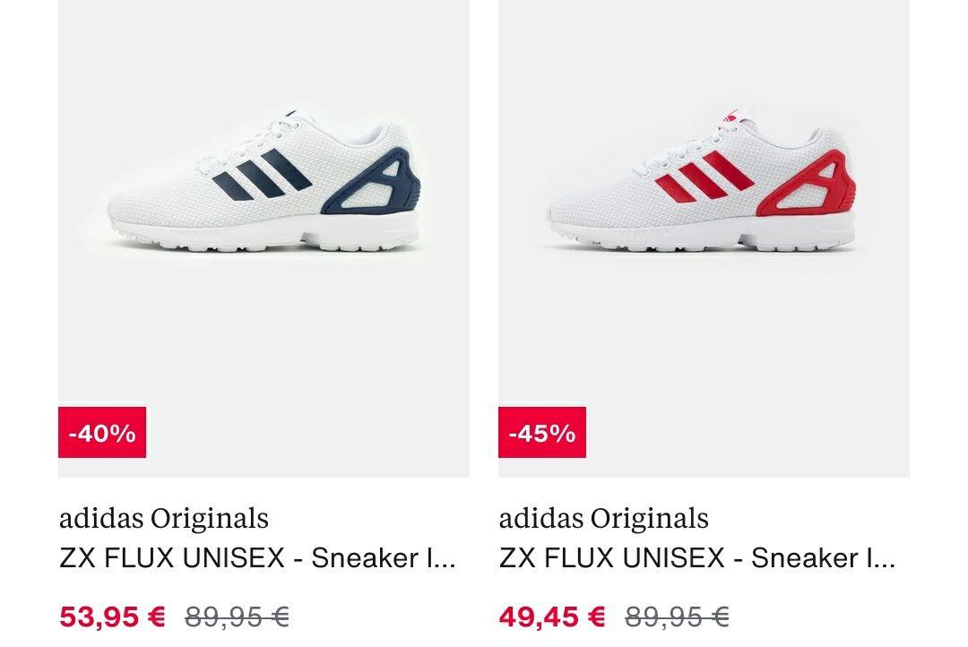 Adidas ZX Flux weiß/rot bzw. weiß/blau (Gr.36-49) @ zalando