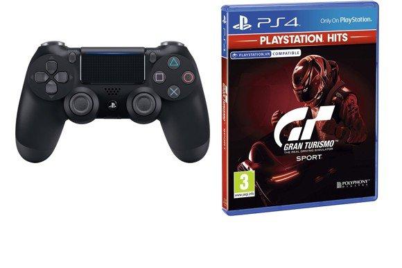 Sony Dualshock 4 Controller v2 - Jet Black + Gran Turismo: Sport (PS4 , Playstation Hits) (Nordic)