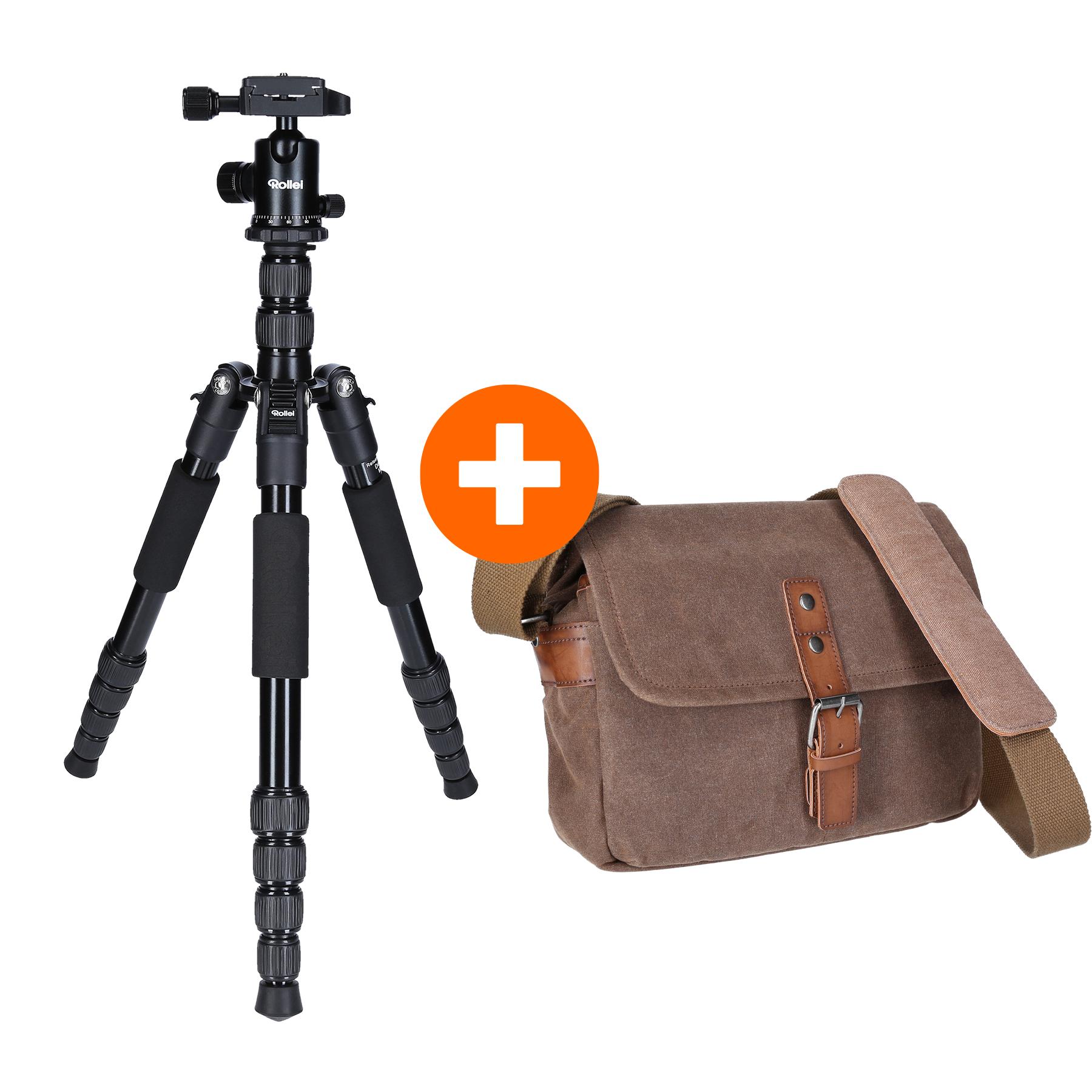 Rollei Fotostativ Traveler Aluminium Black + Messenger Bag