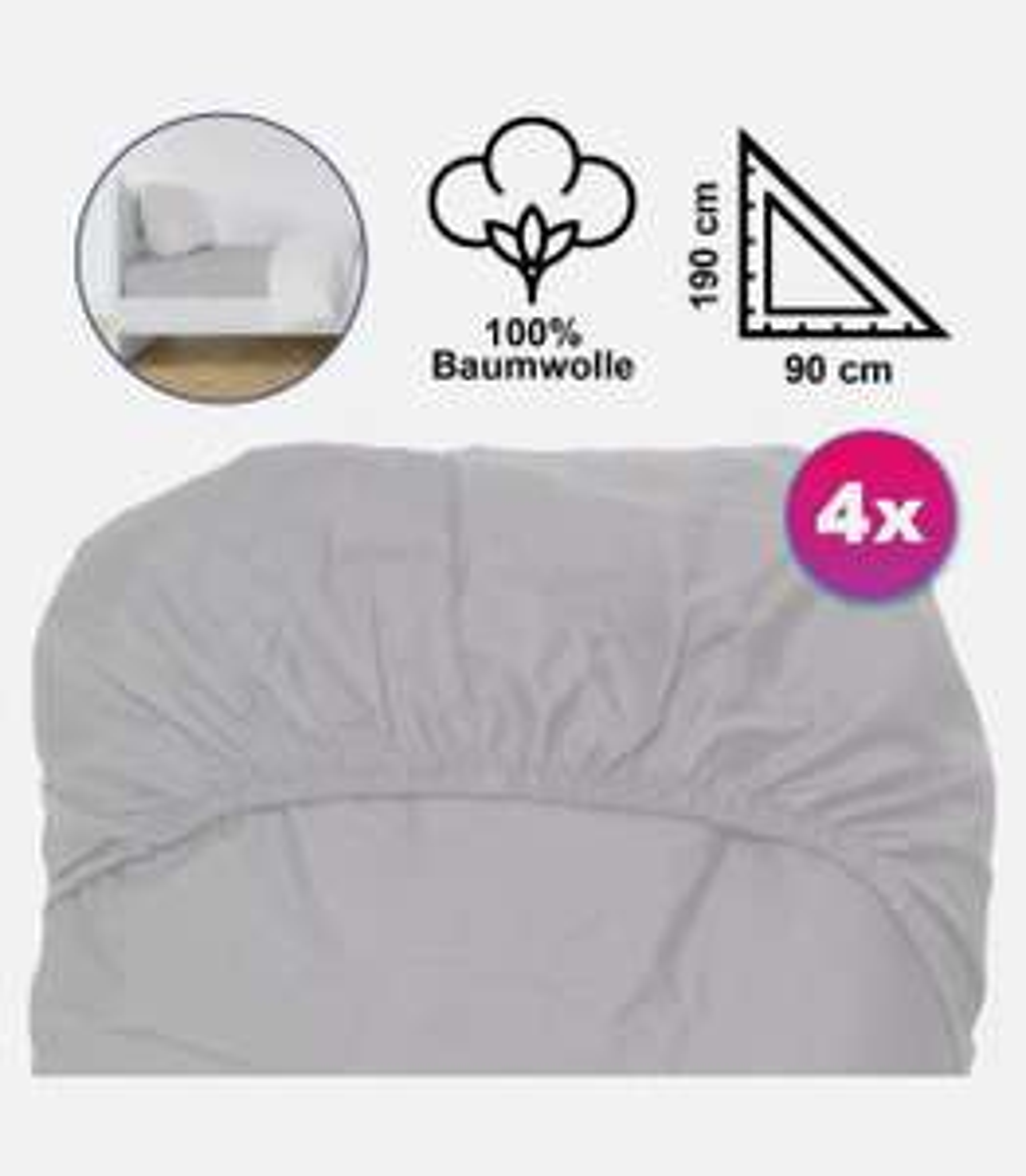4x Spannbetttücher Grau 100% Baumwolle Bettlaken Bezug Gummizug 90x190/200cm Jersey