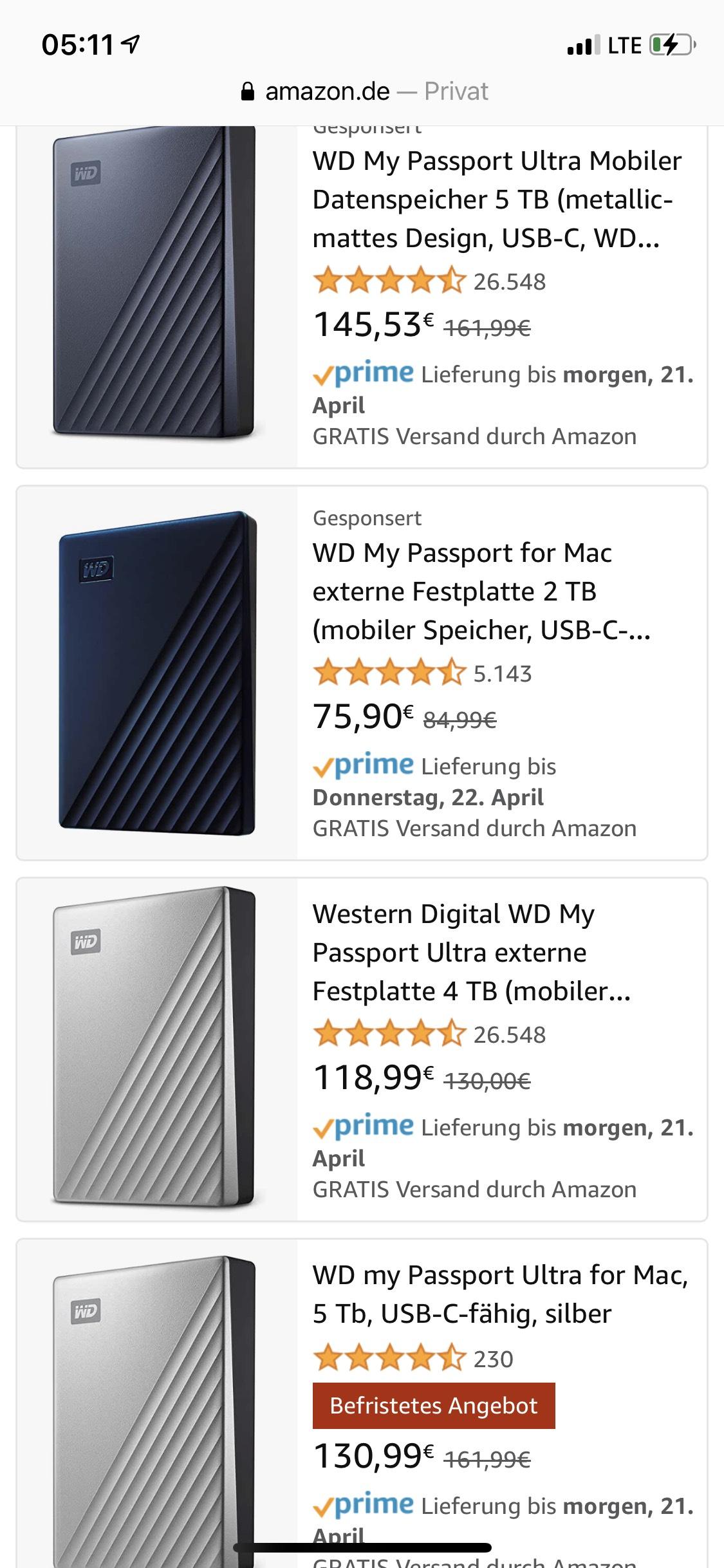 WesternDigital MyPassport Ultra für Mac 5TB [Amazon]