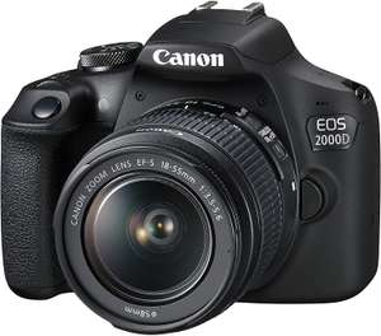 "Canon EOS 2000D DSLR mit Objektiv EF-S 18-55mm 3.5-5.6 III (APS-C, 24.1MP, 3"" LCD, Sucher, 1080p@30fps, WLAN, NFC, SD, USB, HDMI, 665g)"