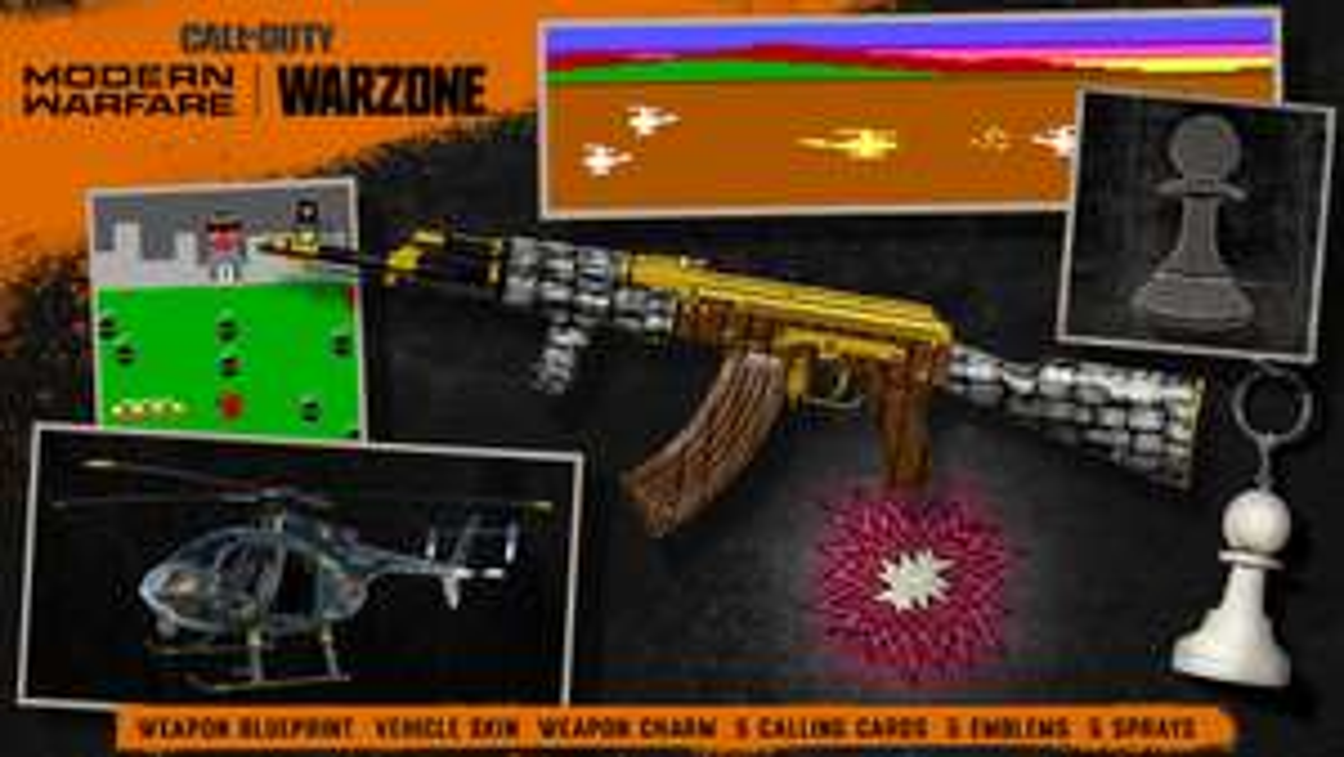 Call of Duty Warzone / Cold War / Mobile / Gratis AK Skin / Helikopter Skin / 5 Visitenkarten / Embleme / 5 Sprays / Anhänger