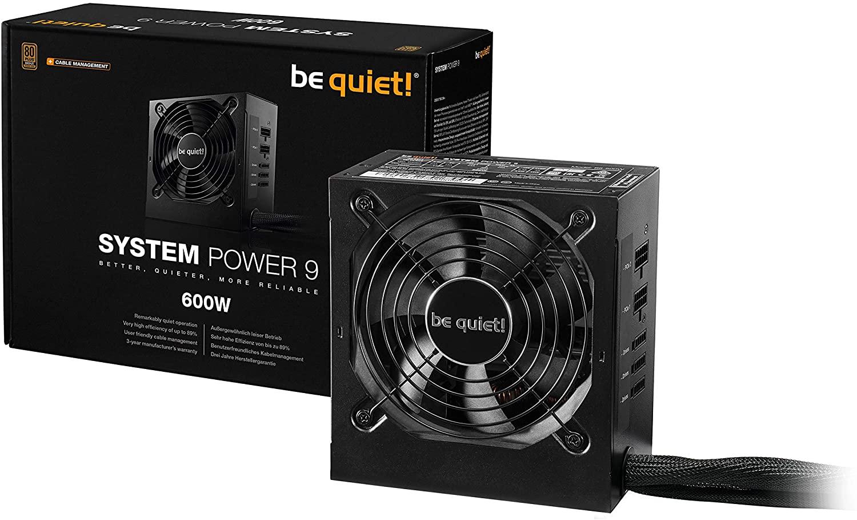 Be Quiet! System Power 9 ATX 2.51 PC Netzteil 600W   BN302 schwarz mit Kabelmanagement, 80+ Bronze