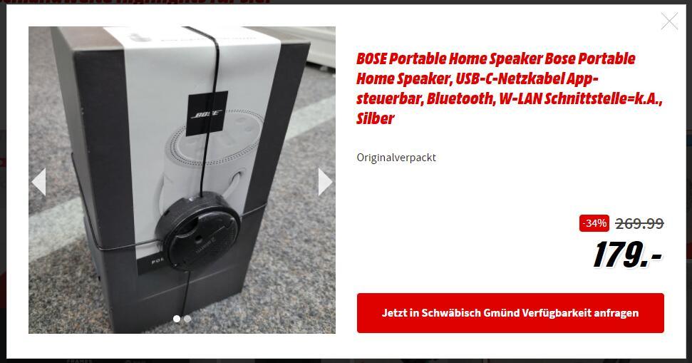 [MM Fundgrube Schwäbisch Gmünd] Bose Portable Home Speaker neu, 2x verfügbar