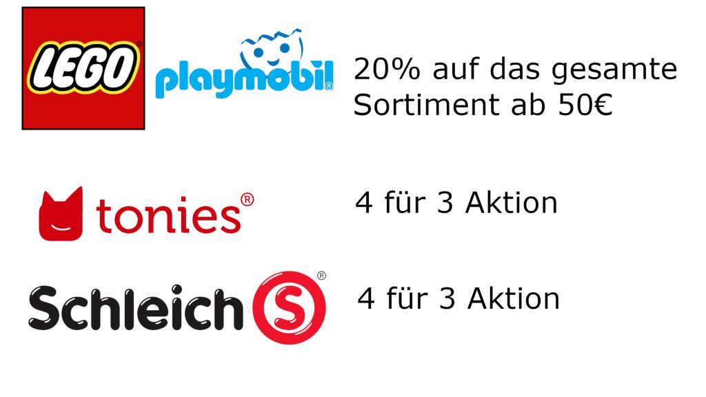 [Lokal Bad Kissingen] 20% auf LEGO und Playmobil - Tonies 4 zum Preis von 3 - Schleichtiere 4 zum Preis von 3
