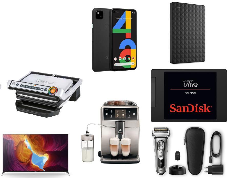 "Seagate Expansion 5TB 2,5"" Portable HDD 89€   Google Pixel 4a 305€   Tefal GC705D 90,09€   Braun Series 9 9325s 169€   SAECO SM7683/10 919€"