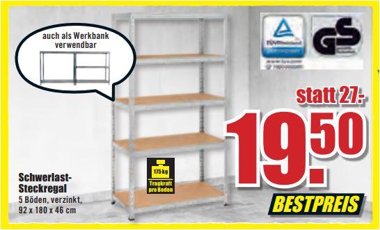 Schwerlastregal 46er Tiefe (Toom Qualität), 5 Böden, 175 kg pro Boden, verzinkt, 92 x 180 x 46 cm für 19,50 Euro [ B1-Discount -Filialpreis]