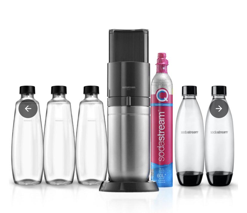 SodaStream Duo Wassersprudler mit 5 Flaschen und CO2 Zylinder PLUS Obstnetz aus recycelten PET Flaschen