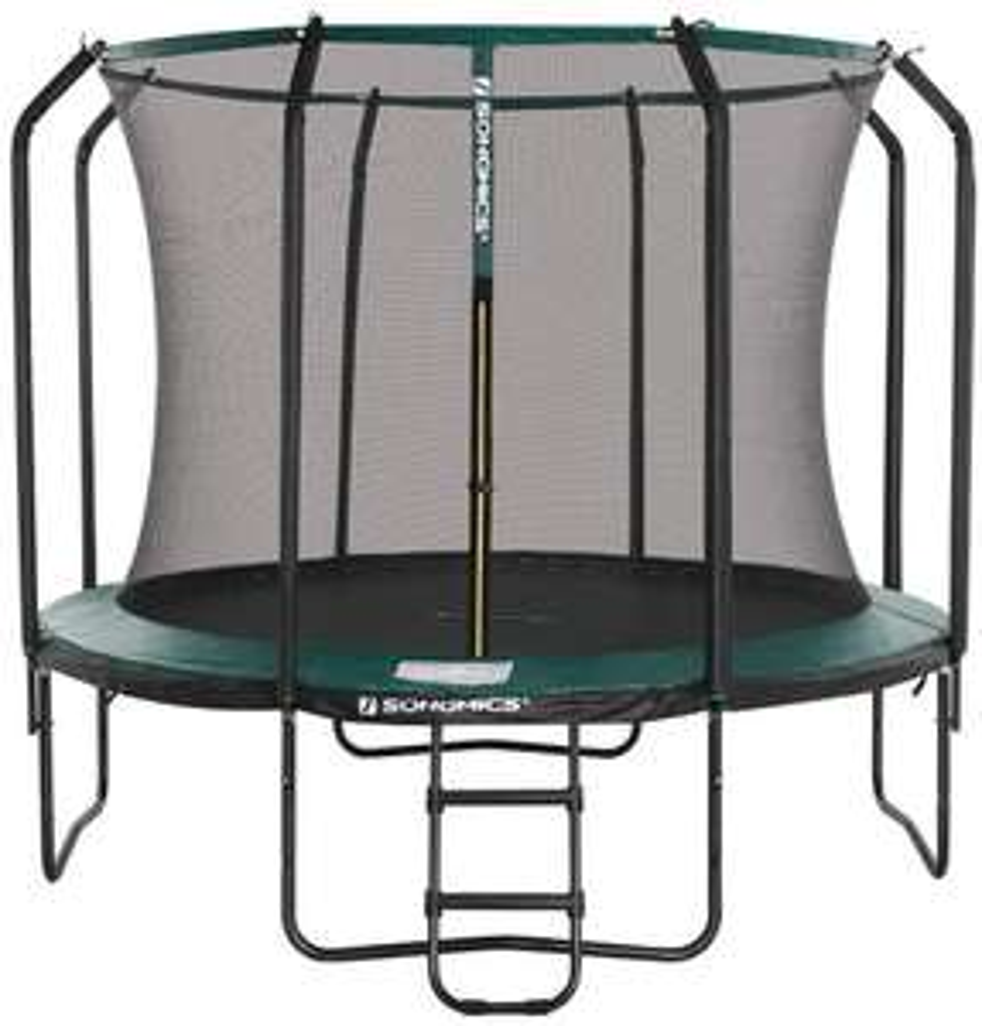 Songmics Trampolin 305 cm mit Netz (schwarz/dunkelgrün)
