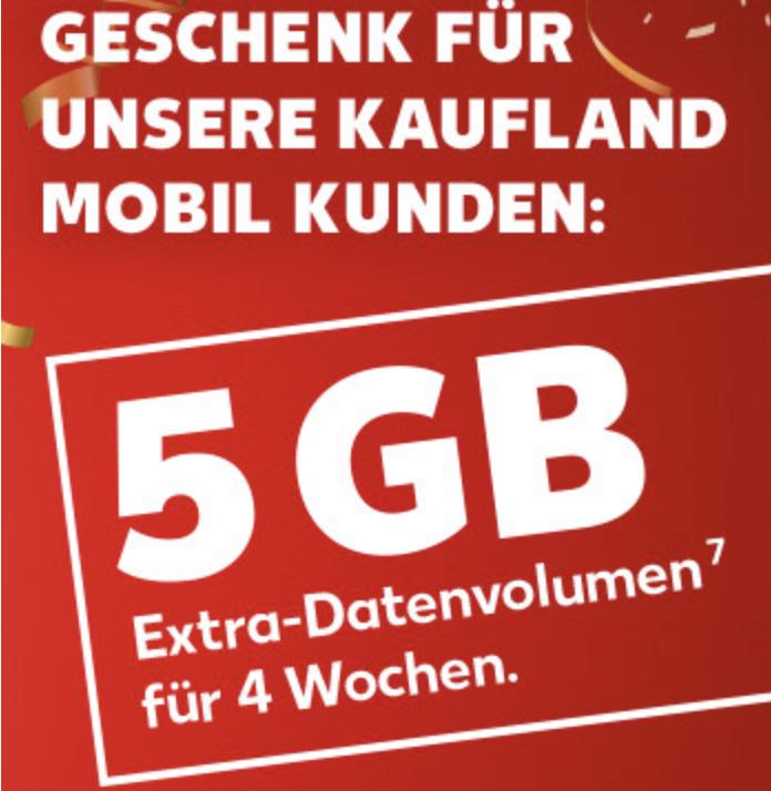 Kaufland Mobil: 5 GB Datenvolumen geschenkt im Smart XS, S, M o. L Tarif oder 100 Freiminuten im Basic Tarif - auch für Bestandskunden!